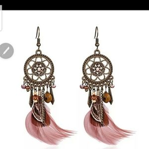 Dream catcher feathered earrings